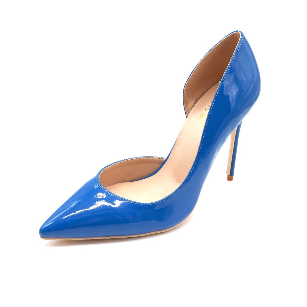 Del Heel Talón Zapato Height Alta Gratis Girl 120mm Charol Caliente Señora Azul Aoranjimm Venta D'orsay Height Cuadro Height Envío Verdadero Mujeres Real 12cm 8cm Estrecha 10cm Punta UHqxTf1H