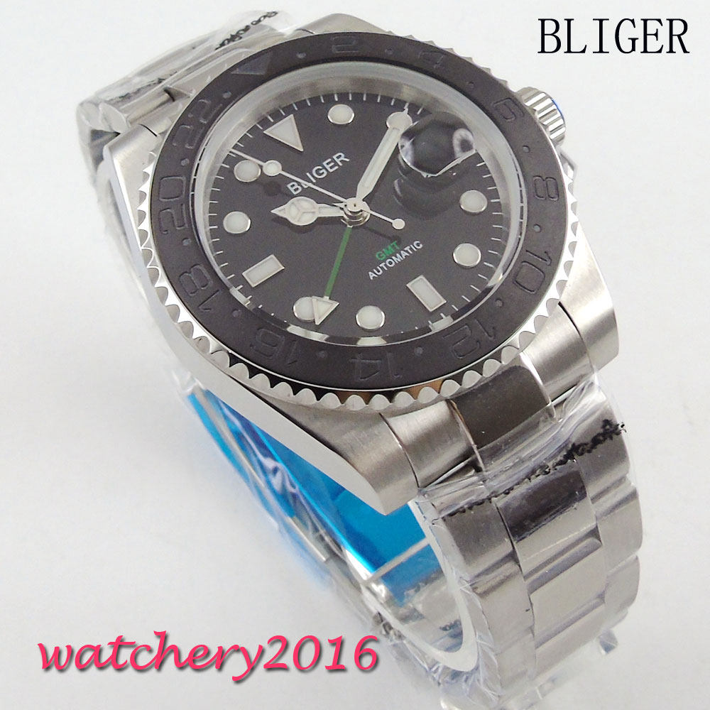 40mm Bliger black Dial Date adjust Luminous Hands Sapphire Glass GMT Automaic Movement Men's Watch блуза pompa pompa mp002xw15gzo