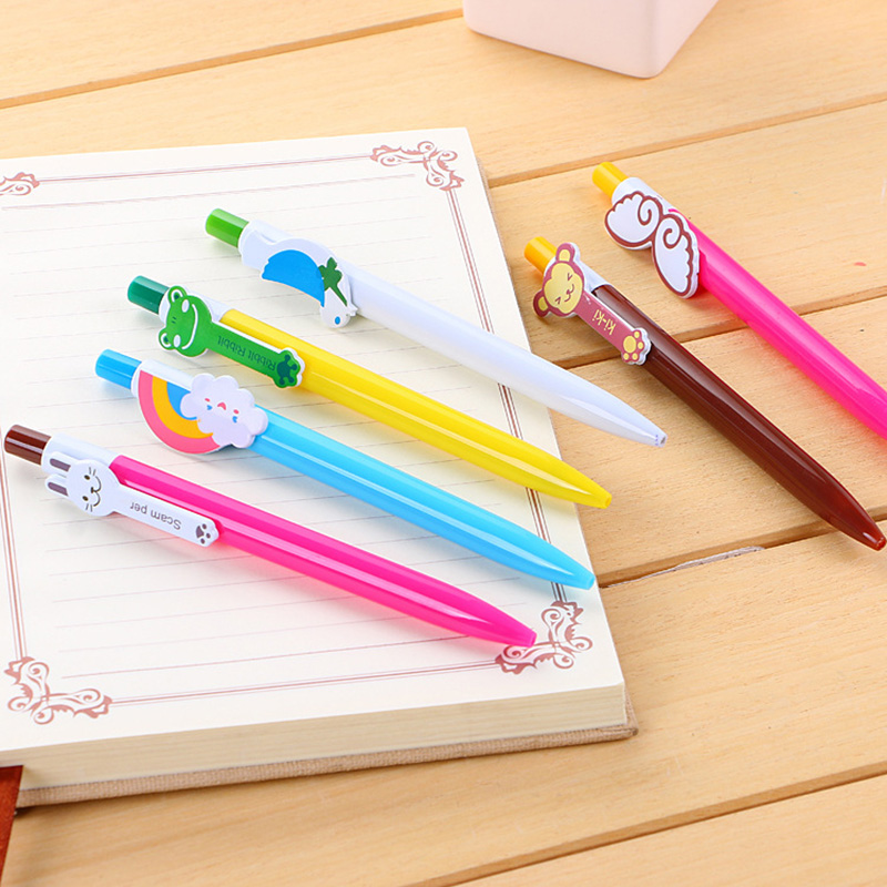 Cute Cat Pattern Hand Carved Wood Pen Refillable Ballpoint Writing Pen Kids Gift