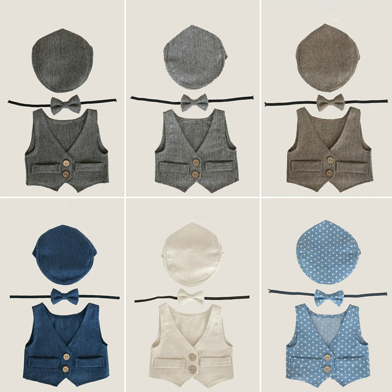 Newborn Photography Props Accessories Baby Boy Photography Clothing Infant Hat+Bow Tie+Suit Vest Set Studio Baby Photo Props