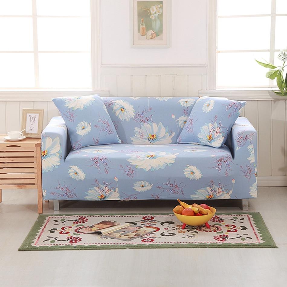 sofa sectional slipcovers | Polyester Flowers Corner Sofa Slipcovers Universal Elastic ...