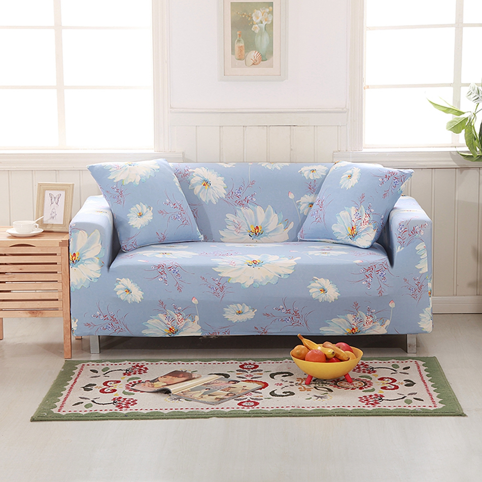 Polyester Flowers Corner Sofa Slipcovers Universal Elastic Couch/Loveseat Sofa Covers Pastoral Foral Sectional Sofa Slipcovers
