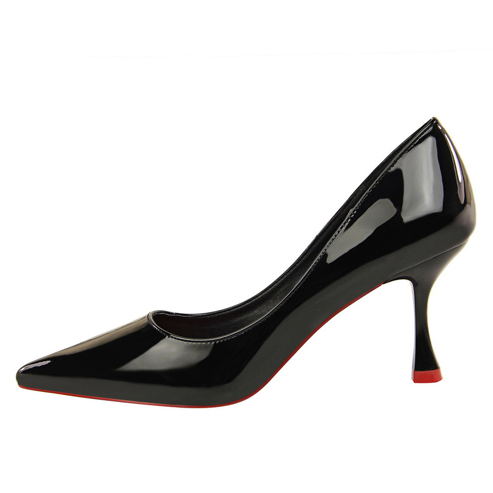high heels pumps women shoes black basic pumps fashion high heeled shoes OL occupation Asakuchi pointed sexy patent leather in Women 39 s Pumps from Shoes