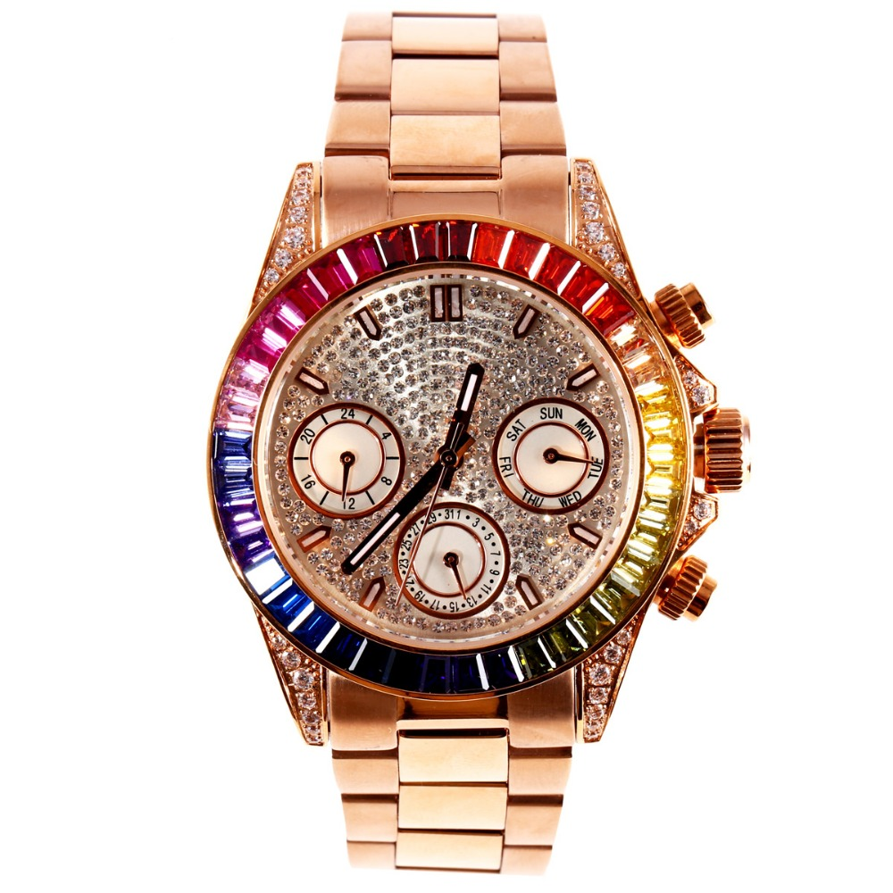 MATISSE Lady Austria Full Crystal Dial & Bezel Steel Strap Fashion Quartz Watch - Rosegold matisse dance with joy