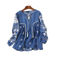 2017 New Fashion Spring Casual Denim Shirt Women Lace Up Lantern Sleeve Ethnic Vintage Embroidery Blouse