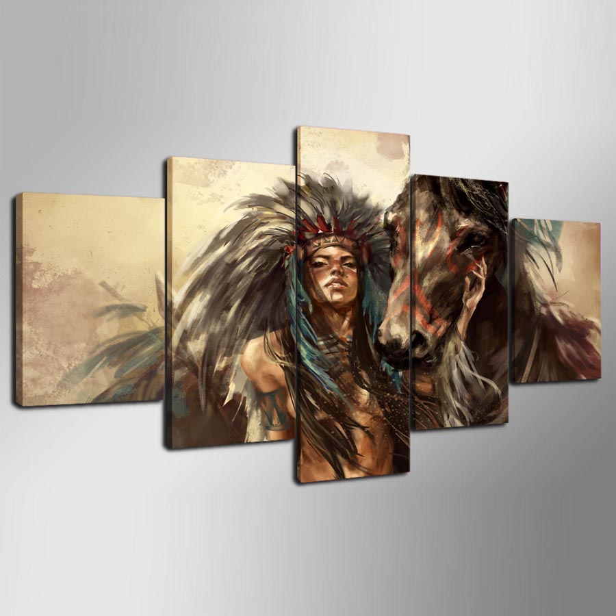 5-panel-hd-Native-American-girl-and-horse-Art-print-canvas-art-wall-framed-paintings-for (5)