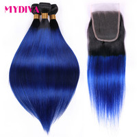 Mydiva Pre Colored 2 Tone Blue Brazilian Hair Weave Straight Ombre 3 Bundles T1B/Blue Dark Roots Human Hair Extensions Non Remy