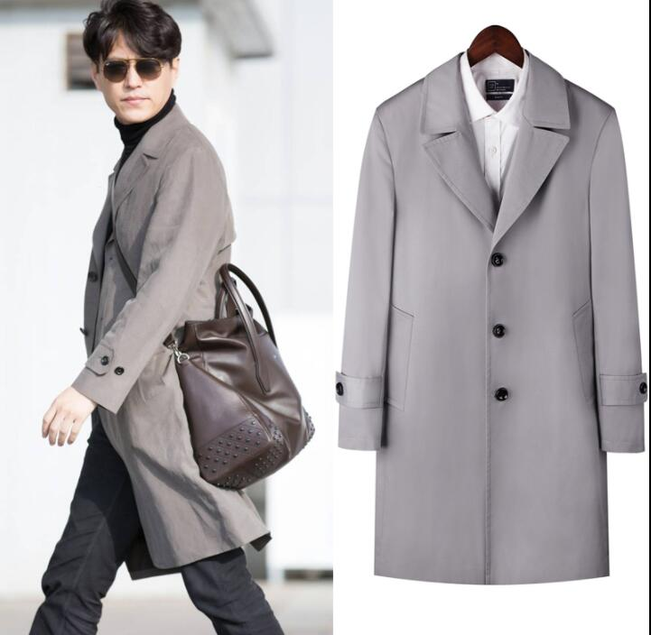 Mens trench coats man Single breasted long coat men clothes slim fit overcoat long sleeve 2019 new designer spring autumn winter in Trench from Men 39 s Clothing