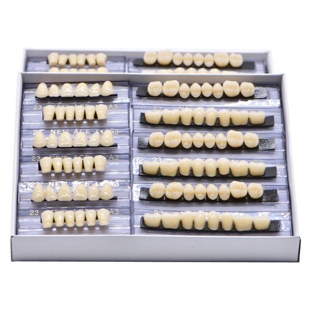 168pcs Acrylic Resin Denture Dental Teeth Upper Lower Shade 23 A2 A3 Oral  Care teeth Whitening Tooth Model Dental Materials-in Teeth Whitening from