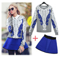 Autumn temperament lady Lace 2 piece Set 2016 Fashion Womens Sets Two Piece Lace Long-sleeved sweater coat and Mini skirt