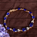 A Nova Verão 2016 Projeto Banhado A Ouro Pulseiras de Cristal Austríaco Azul Royal Para As Mulheres Da Moda Jóias