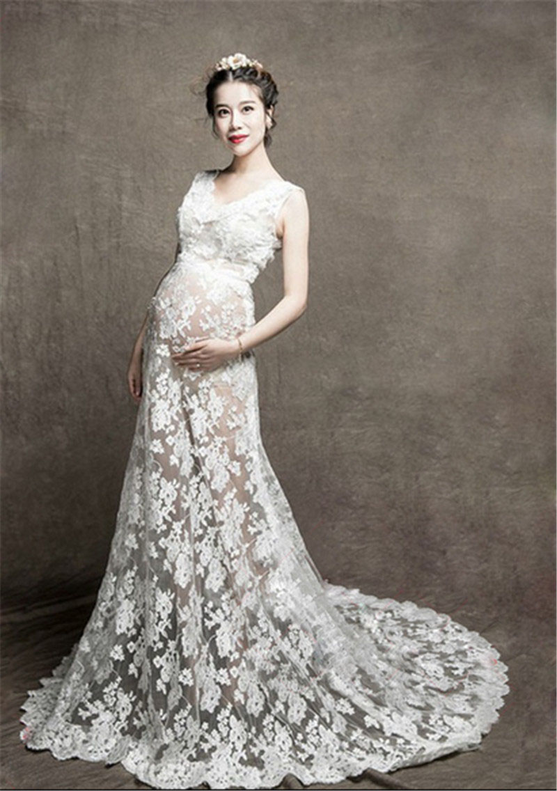 pregnant photography prop womenu0027s baby shower floral white lace maternity dress maternity gown maxi dresses for