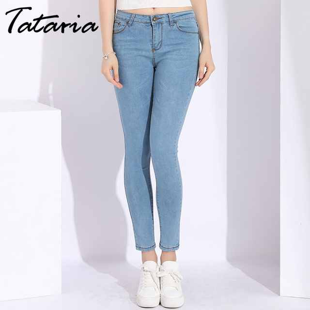 a2bbf404c0f Tataria Ladies Jeans Female Stretch Women Skinny School Jeans Woman Plus  Size 2018 Slim Light Blue