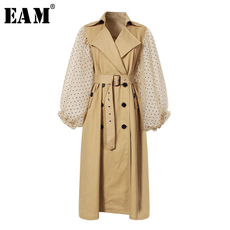 EAM 2019 New Spring Lapel Long Puff Sleeve Sashes Dot Mesh Stitching Loose Long Windbreaker
