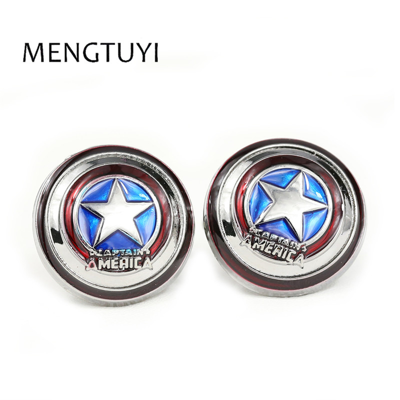 Mengtuyi Captain America Cufflinks red color fashion novelty superheroes design Best Gift for Movie fans men cufflink
