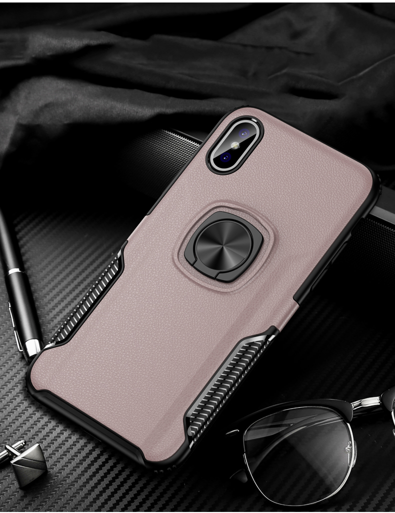Luxury Leather texture Bracket case For iPhone x xs max xr Shockproof armor cover For iphone 6 6s 7 8 plus case with ring holder (16)