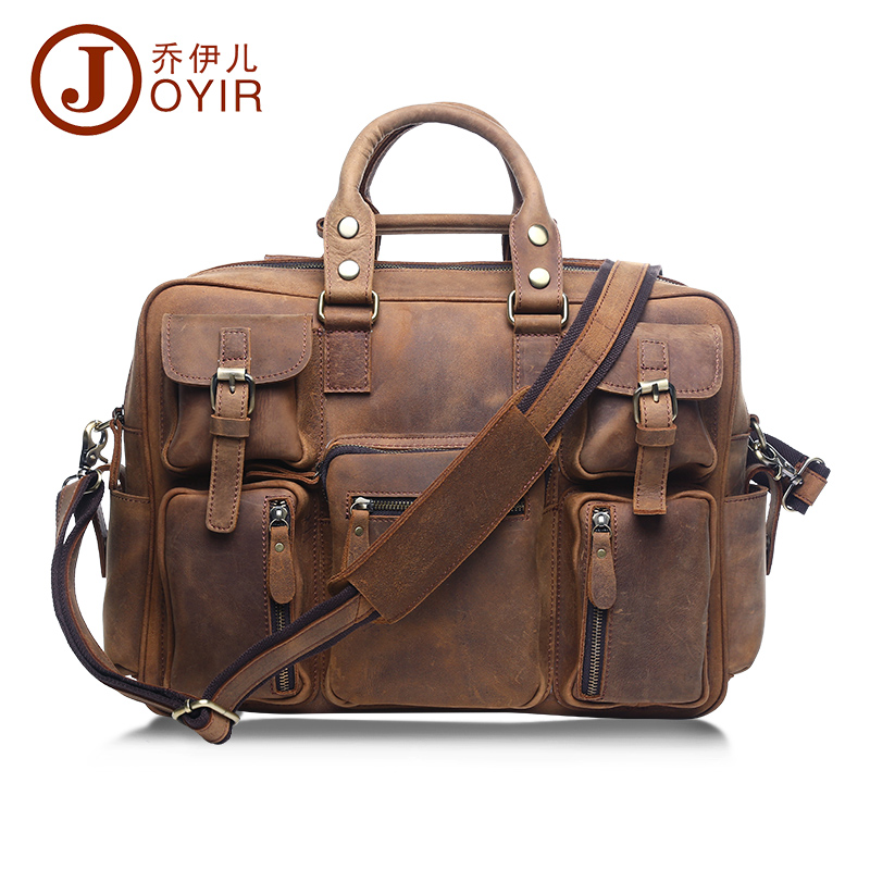 все цены на JOYIR Genuine Leather Men Bag Business Briefcase Men's Laptop Bag Men Vintage Crossbody Shoulder Handbag Male Messenger Bag 2018