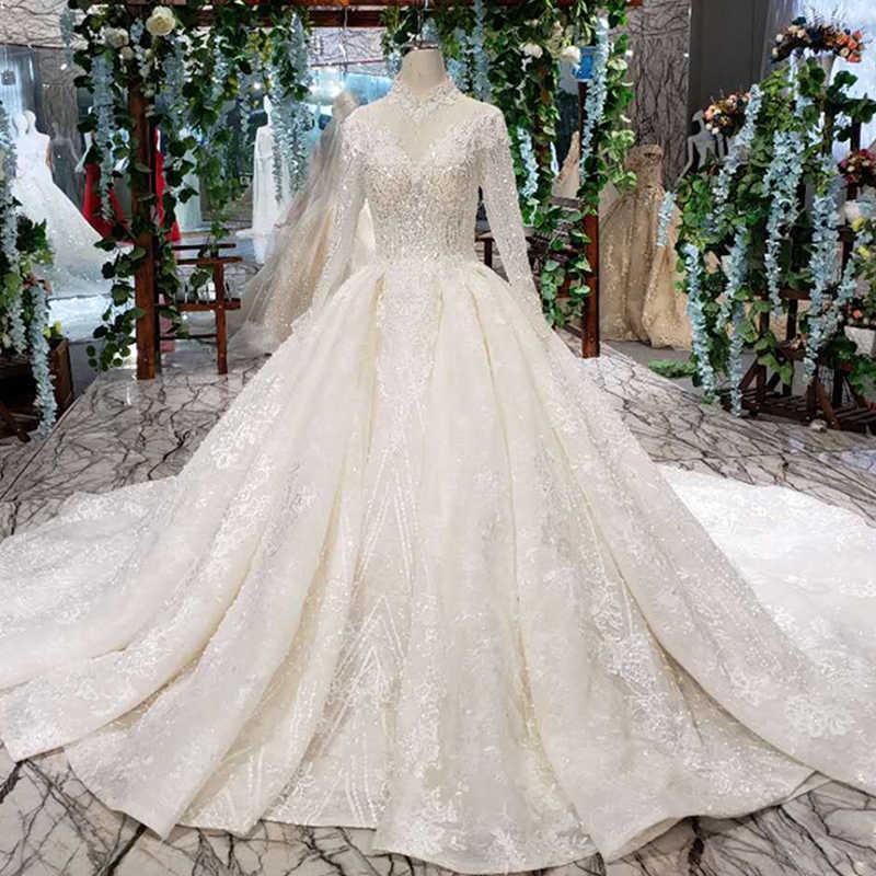 LS11254 Элегантный Высокий воротник Свадебные платья Шампанское Кристалл с длинными рукавами бальное кружевное свадебное платье с длинным шлейфом для Королев