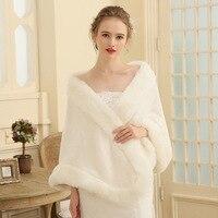 Winter Fashion Faux Fur Shawl For Women Luxurious Warm Wrap Wedding Capes For Brides Evening Party Fur Bridal Shawl Bolero