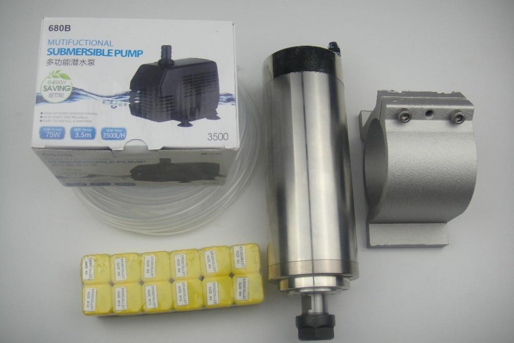 CNC frees spindl ER20 2.2KW vesijahutus spindl +1 veepump + 1 veetoru + spindli tugi + ER20 kogumid