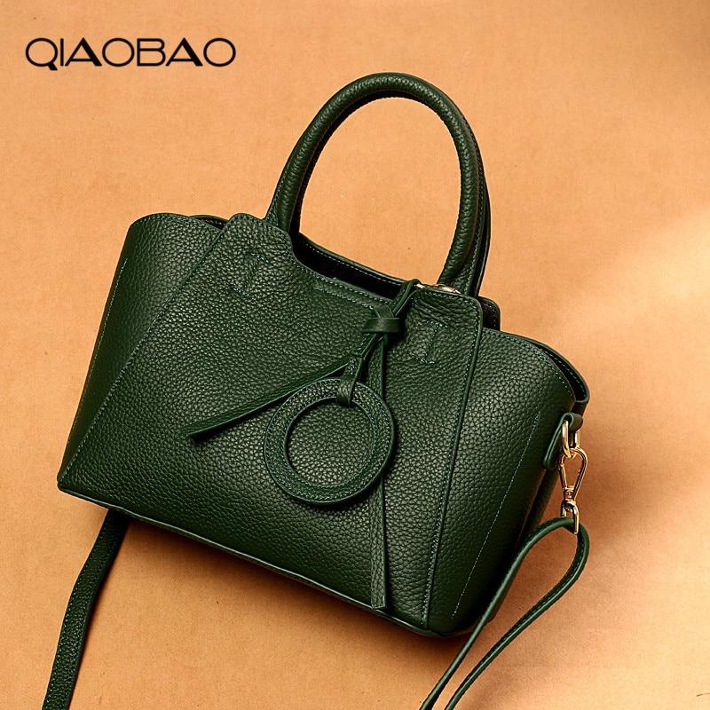 QIAOBAO Fashion Luxury Handbag Women Large 100% Genuine Leather Tote Bag Female Bucket Shoulder Bags Lady Cowhide Messenger Bag casio ae 3000w 9a