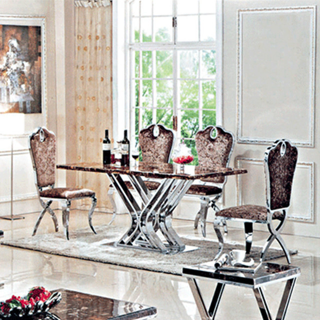 Marble Top Metal Modern Dining Table And Chairs Living Room Set Chair Price Is Extra Stainless Steel