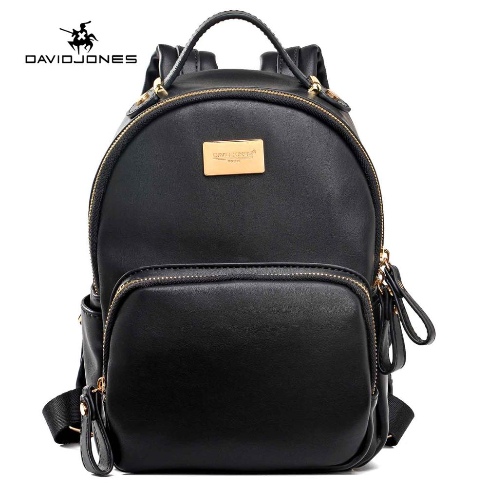 DAVIDJONES women shoulder bags pu leather female backpacks mini lady solid school bag girl brand teenager