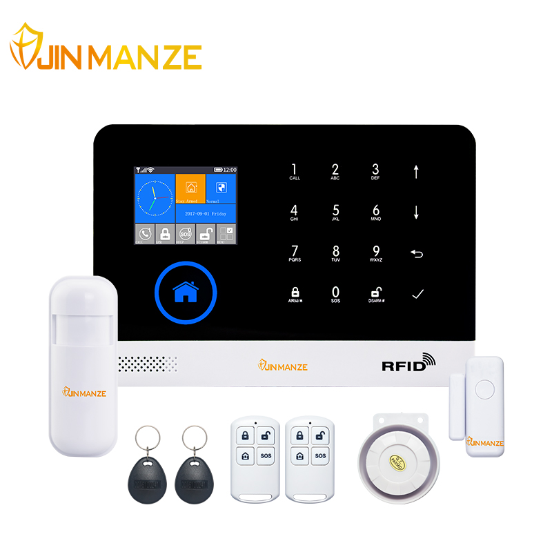 JINMANZE Wireless WIFI GSM GPRS Home Burglar Security GSM Alarm System English German RFID card Voice Prompt APP Remote Control 433mhz wireless keypad wireless siren led touch screen gs g90b wireless gsm wifi gprs burglar home security alarm system