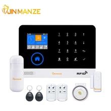 JINMANZE Wireless WIFI GSM GPRS Home Burglar Security GSM Alarm System English German RFID card Voice Prompt APP Remote Control