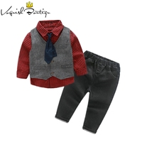 4PCS/SET boys clothing set gentleman kids plaid shirt with vest and bow and pants fashion wedding boys suit baby boys clothes