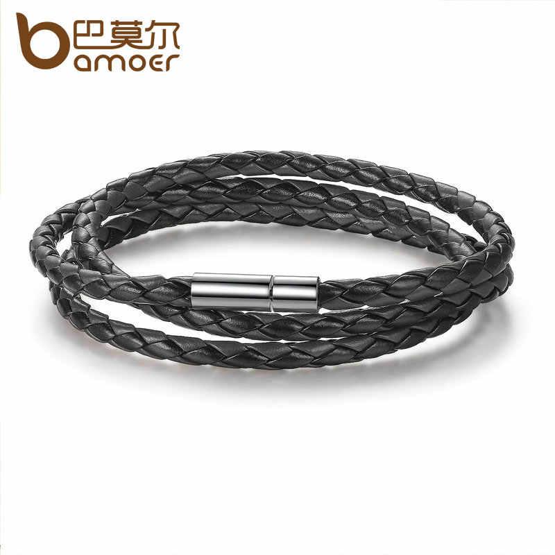 BAMOER 6 kolor hurtownie długi łańcuch regulowany magnes klamra Unisex skórzane bransoletki dla kobiet i mężczyzn biżuteria PI0063