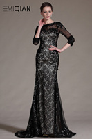 Freeshipping Black Lace Evening Dresses Evening Gowns With Long Sleeves