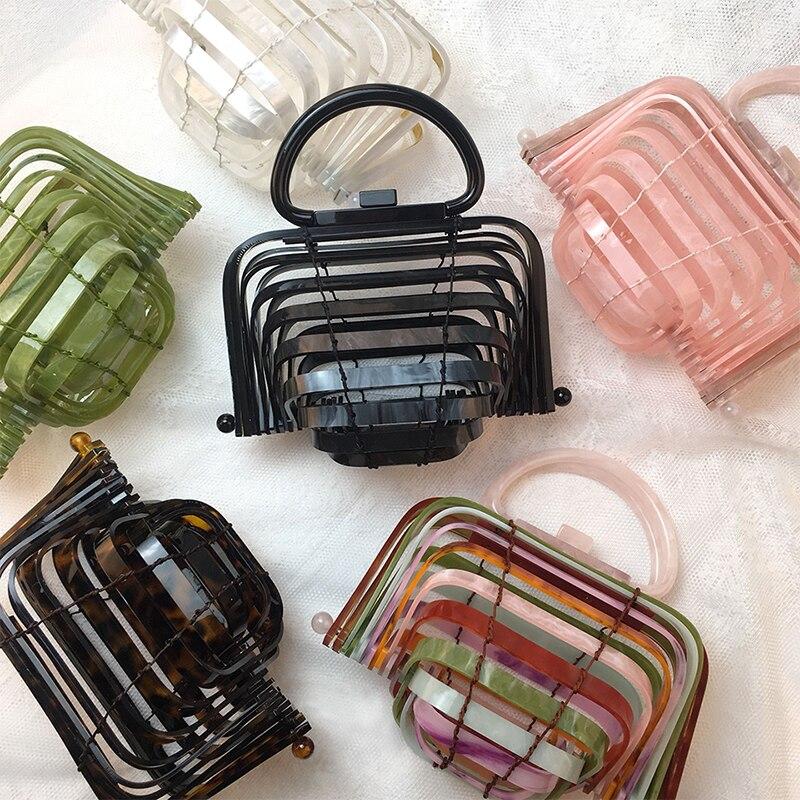 New fold-able acrylic beach bag bamboo handbag transparent bag bolsos hollow out baskets top-handle bags цена