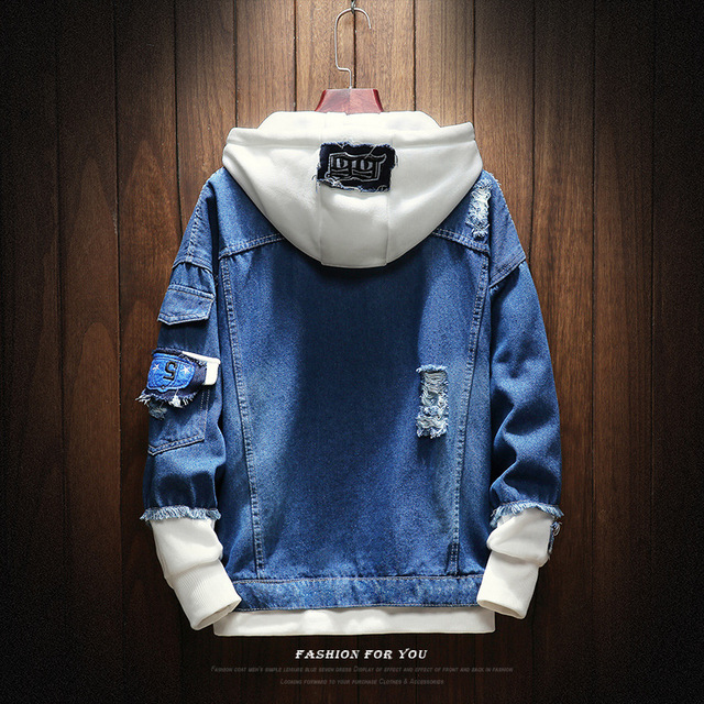 2019 New hooded denim jacket men fashion fake two pieces patchwork denim coat streetwear casual hole jacket mens denim clotheing 2