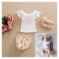 2017 Fashion 3pcs Kids Baby Girl Infant Newborn Bebe Headband+Top+Pants Headbands+Girls Shorts Diaper Cover +T-shirt BB Clothes