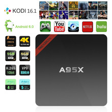 1 GB/8 GB Mini A95X Nexbox decodificador Nuevo Android 6.0 Amlogic S905X Smart TV Box Quad-core KODI 64bit 16.1 4 K Inteligente IPTV