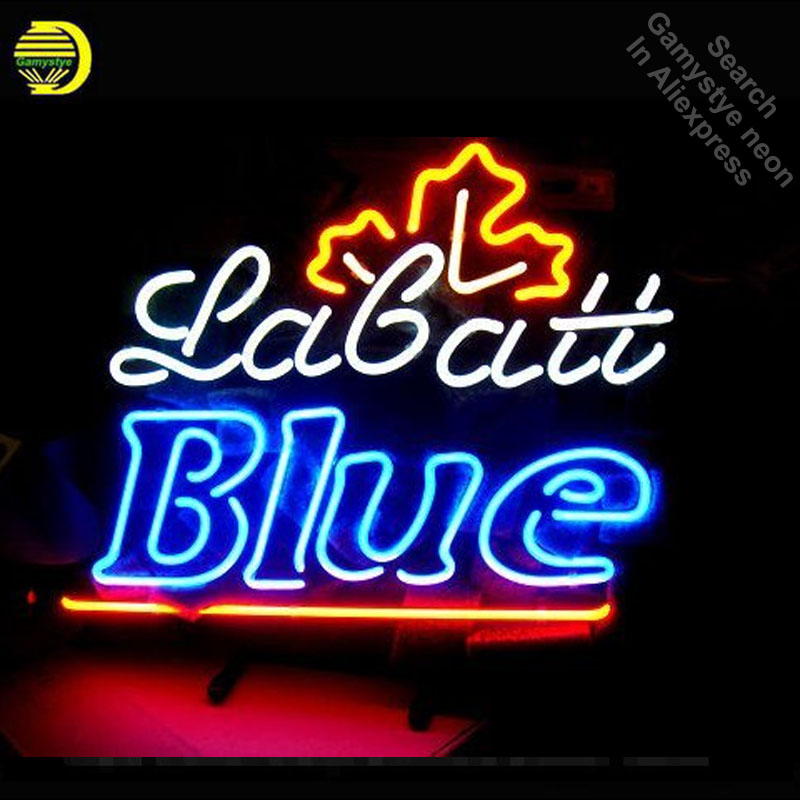 Labatt Blue Neon Sign neon bulb Sign neon lights for Beer Bar Room Wall Glass Tube Handcraft Iconic Sign store Display signboard