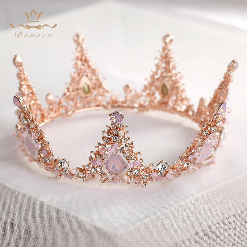 Top Quality Luxurious Rhinestone Pink Tiaras Crowns Brides Crystal Round Hairbands beaded Wedding Hair Accessories pink round neck beaded detail fahsion jumper