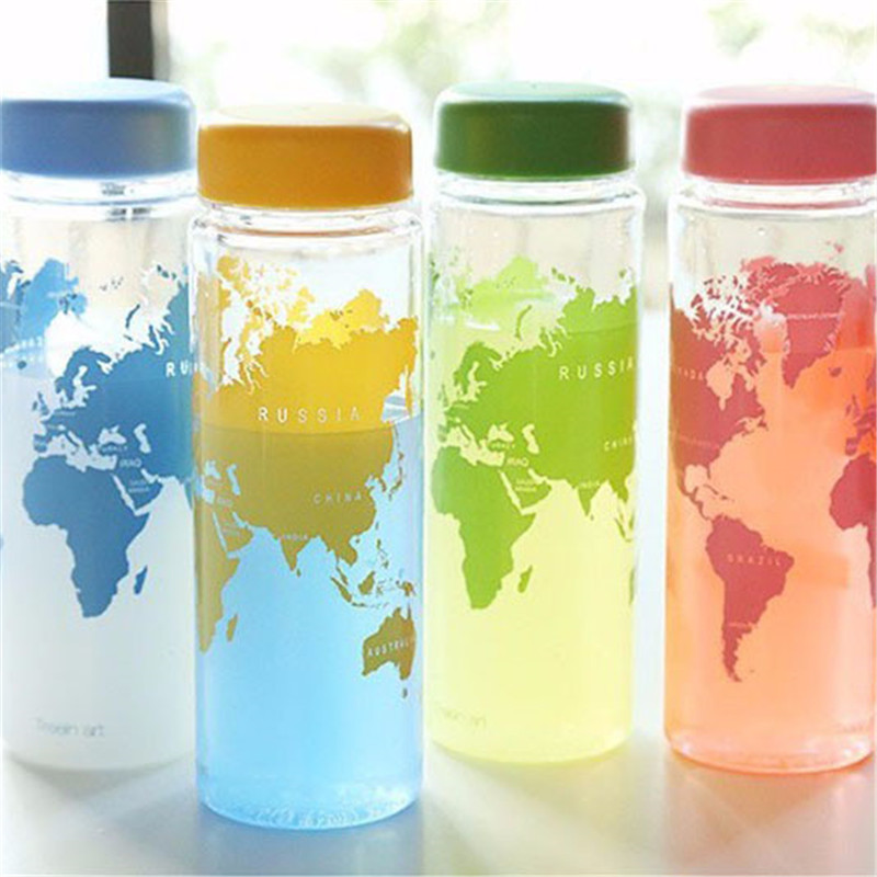Fashion map Water Bottle Fruit Juice Sport Portable Travel Botle PC Bottles for Water My Bootl 500ml Plastic bottles FA7 ...