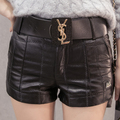 2017 Autumn And Winter Sexy Black Pu Leather Shorts Slim Boots Short Pants Plus Size Casual Shorts Women Faux Leather Shorts