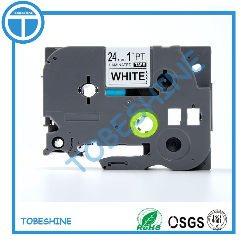 Tobeshine Store Factory supply 24mm black on white compatible brother tze tape for p touch label tape maker tze 251 tze-251 tze251