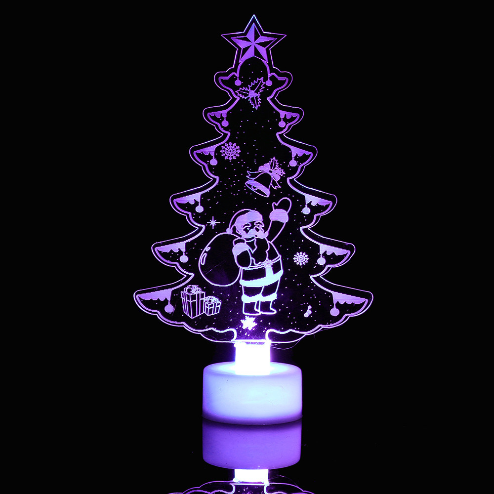 Hot Color Changing Merry Christmas Lightings Snowman Multi Color LED Light Clear Acrylic Christmas Tree Mood Lamp Night