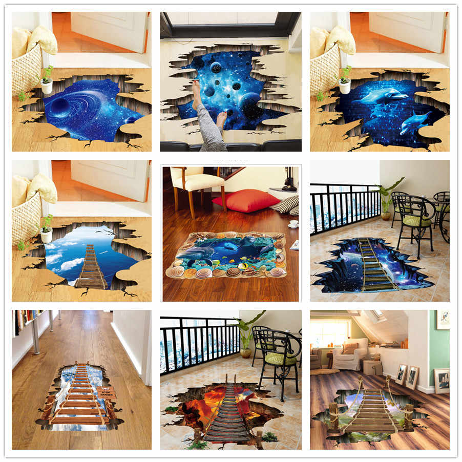 % 3D Broken Wall Cosmic Space Wall Sticker Home Decor Living Room Bedroom Floor Decoration Removable Vinyl Material Decorative