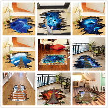 % 3D Broken Wall Cosmic Space Wall Sticker Home Decor Living Room Bedroom Floor Decoration Removable Vinyl Material Decorative(China)