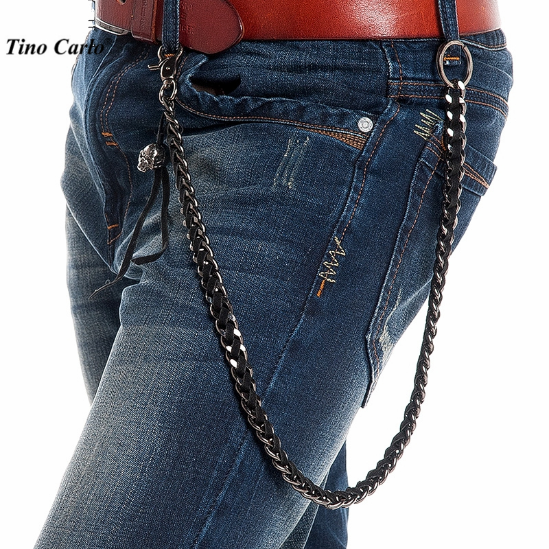 Men Heavy Gunmetal and Leather Joint Biker Skull Wallet Chains 10mm Width 66cm Key Chain Rock Skeleton Hip Hop Jeans Chain KB46