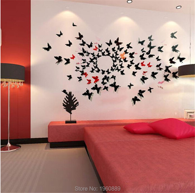Beauty 12X Art Decal Stickers 3D Butterfly Stickers Home Room Wall ...