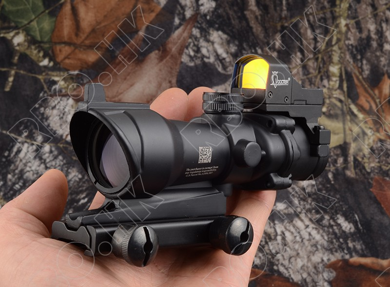 Tactical Trijicon acog style 4x32 Rifle scope and 1x docter red dot sight hunting shooting M2833 M7830 tactical trijicon mro style 1x red dot sight scope for high and low picatinny rail mount base hunting shooting m9159