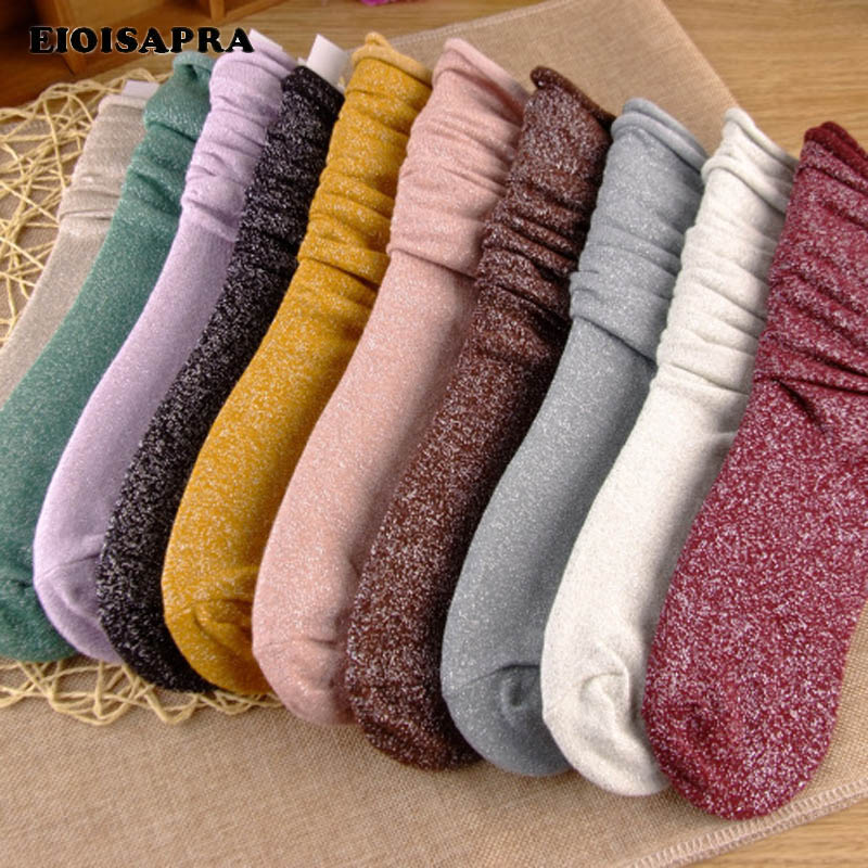 [EIOISAPRA]Long Candy Color   Socks   Women Cotton Happy   Socks   Funny Shiny Glitter Meias Edge Elegant Heap Heap Calcetines Mujer