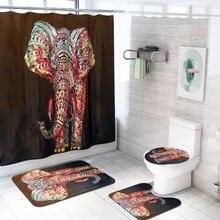 4Pcs/Set Animal Themed Print Bathroom Accessories Set Non-Slip Flannel Shower Bath Rug Mats With Hanging Hooks