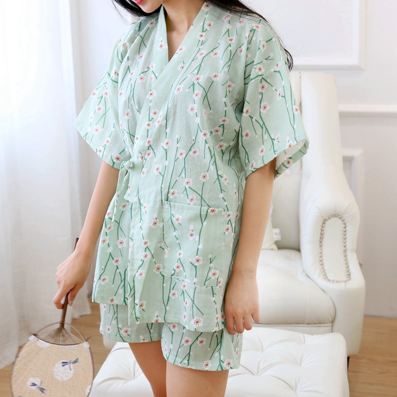 Women's Yukata Japanese Kimono Robes Pajamas Sets Cotton Dress Suits Shrt Pant Nightgown Sleepwear Bathrobe Leisure Homewear